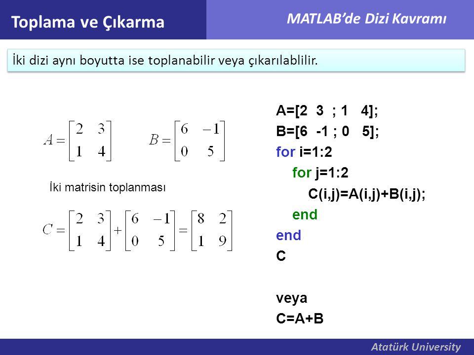 Toplama ve Çıkarma İki dizi aynı boyutta ise toplanabilir veya çıkarılablilir. A=[2 3 ; 1 4]; B=[6 -1 ; 0 5];